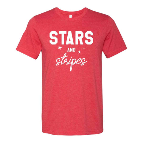 Stars and Stripes 4th of July Unisex Heather Red Cotton Blend T-Shirt