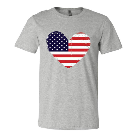 Heart with American Flag Unisex Athletic Heather Gray Distressed T-Shirt