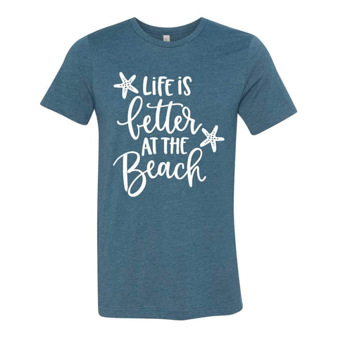 Life is Better at the Beach Unisex Heather Deep Teal Cotton Blend T-Shirt