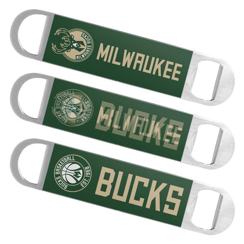 Milwaukee Bucks Boelter Brands Hologram Logo Metal Bottle Opener Bar Key - Sporting Up