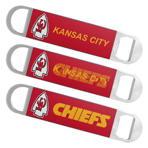 Kansas City Chiefs NFL Boelter Brands Hologram Logo Metal Bottle Opener Bar Key - Sporting Up