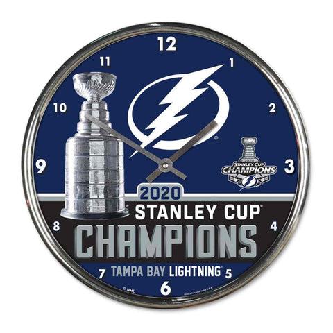 Tampa Bay Lightning 2020 NHL Stanley Cup Champions WinCraft Chrome Wall Clock