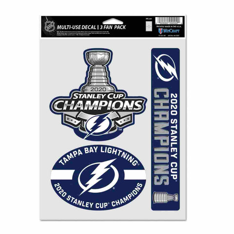 Tampa Bay Lightning 2020 NHL Stanley Cup Champions Multi-Use Fan Decal Set (3pk)