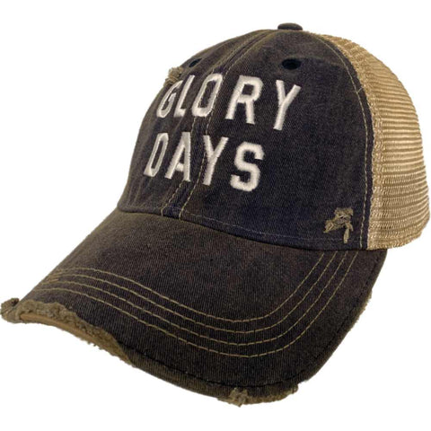 "Shop ""Glory Days"" Retro Brand Navy Distressed Tattered Mesh Adj. Snapback Hat Cap - Sporting Up"