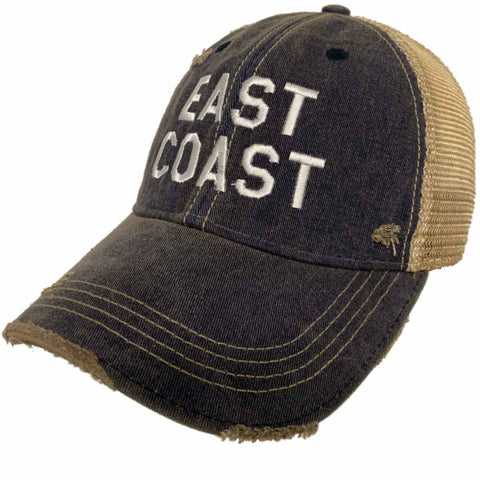 "Shop ""East Coast"" Retro Brand Navy Distressed Tattered Mesh Adj. Snapback Hat Cap - Sporting Up"