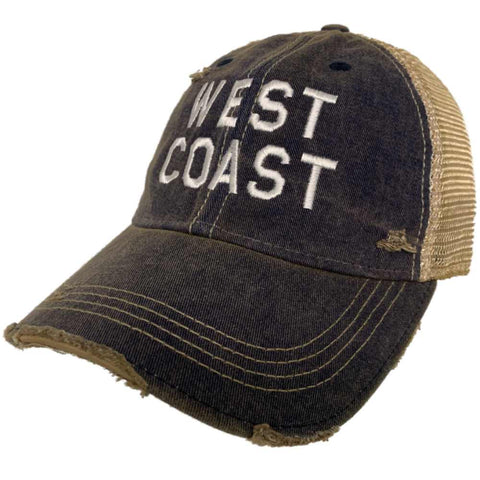 "Shop ""West Coast"" Retro Brand Navy Distressed Tattered Mesh Adj. Snapback Hat Cap - Sporting Up"