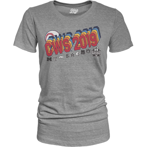 2019 Men's College World Series CWS 8 Team WOMEN'S Tri-Blend Gray T-Shirt - Sporting Up