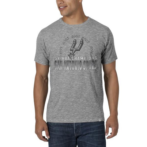 Shop San Antonio Spurs 47 Brand 2014 NBA Champions 5 Times Heather Gray Scrum T-Shirt