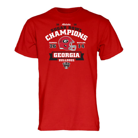 Georgia Bulldogs 2020 CFP Sugar Bowl Champions Red Game Score T-Shirt