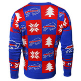 Buffalo Bills NFL Forever Collectibles Red & Blue Knit Patches Ugly Sweater - Sporting Up