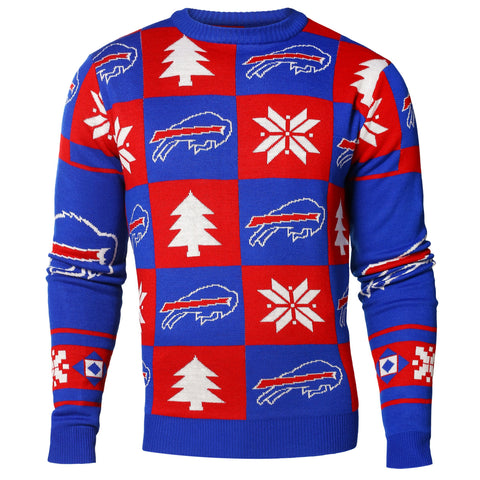 Buffalo Bills NFL Forever Collectibles Red & Blue Knit Patches Ugly Sweater