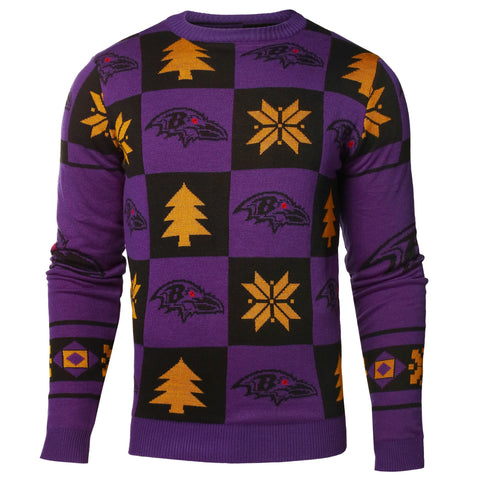 Baltimore Ravens Forever Collectibles Purple & Black Knit Patches Ugly Sweater
