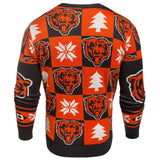 Chicago Bears NFL Forever Collectibles Orange & Navy Knit Patches Ugly Sweater - Sporting Up