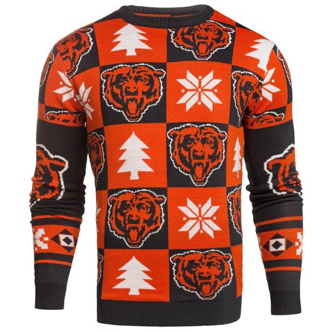 Chicago Bears NFL Forever Collectibles Orange & Navy Knit Patches Ugly Sweater