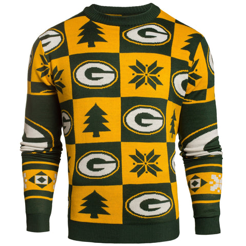 Green Bay Packers Forever Collectibles Yellow & Green Knit Patches Ugly Sweater