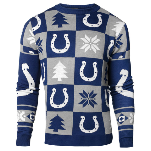Indianapolis Colts Forever Collectibles Blue & Gray Knit Patches Ugly Sweater