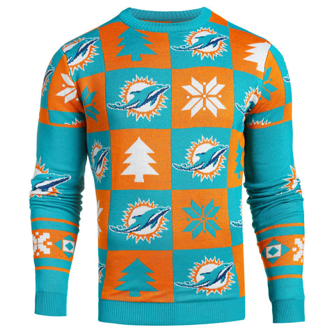 Miami Dolphins NFL Forever Collectibles Aqua & Orange Knit Patches Ugly Sweater