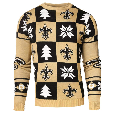 New Orleans Saints Forever Collectibles Black & Gold Knit Patches Ugly Sweater