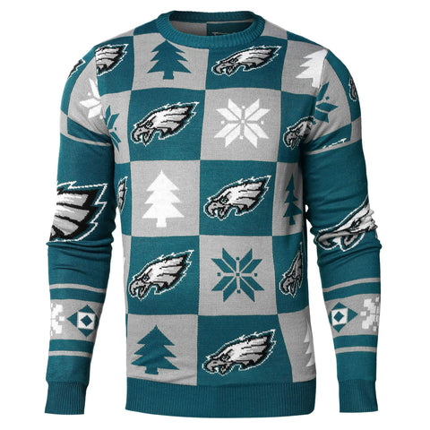 Philadelphia Eagles NFL FC Midnight Green & Gray Knit Patches Ugly Sweater