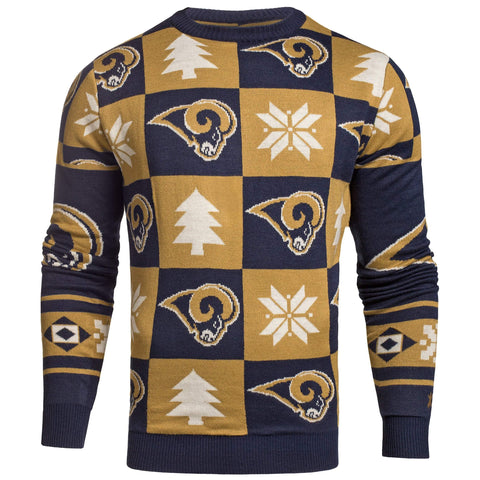 Los Angeles LA Rams Forever Collectibles Navy & Gold Knit Patches Ugly Sweater
