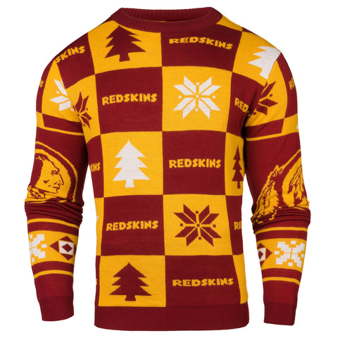 Washington Redskins Forever Collectibles Burgundy Gold Knit Patches Ugly Sweater