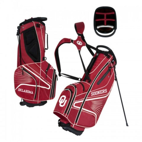 "Oklahoma Sooners WinCraft ""Grid Iron III"" 6-Way Stand Golf Bag"