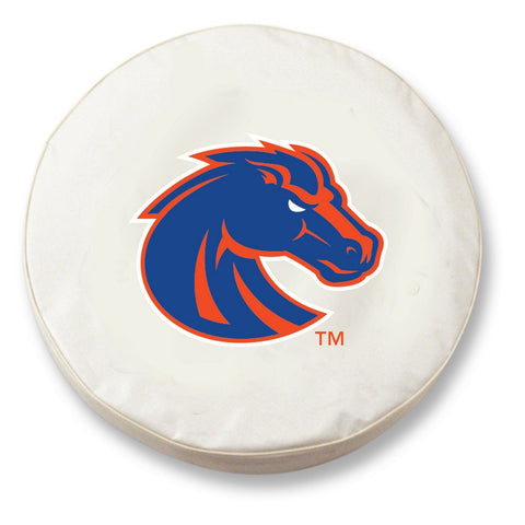 Boise State Broncos HBS White Vinyl Fitted Spare Car Tire Cover