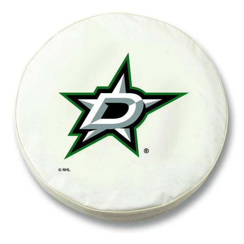 Dallas Stars HBS White Vinyl Fitted Spare Car Tire Cover