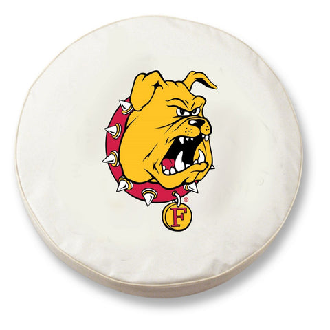 Ferris State Bulldogs HBS White Vinyl Fitted Car Tire Cover - Sporting Up