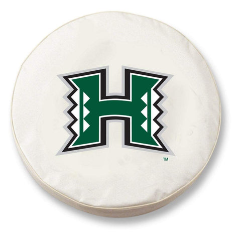 Hawaii Warriors HBS White Vinyl Fitted Spare Car Tire Cover