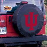 Indiana Hoosiers HBS Black Vinyl Fitted Spare Car Tire Cover - Sporting Up