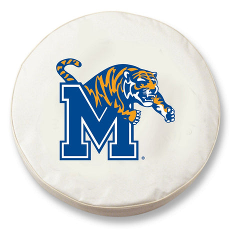 Memphis Tigers HBS White Vinyl Fitted Spare Car Tire Cover - Sporting Up