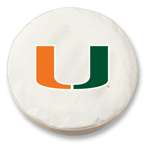 Shop Miami Hurricanes HBS White Vinyl Fitted Spare Car Tire Cover - Sporting Up
