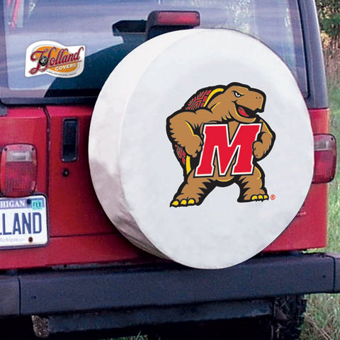 Maryland Terrapins HBS White Vinyl Fitted Spare Car Tire Cover