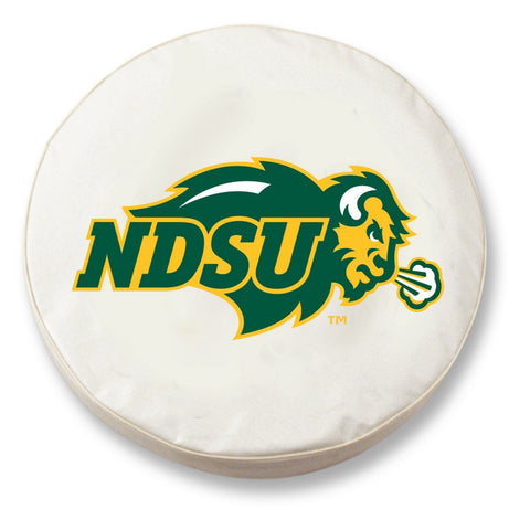 North Dakota State Bison HBS White Vinyl Fitted Car Tire Cover