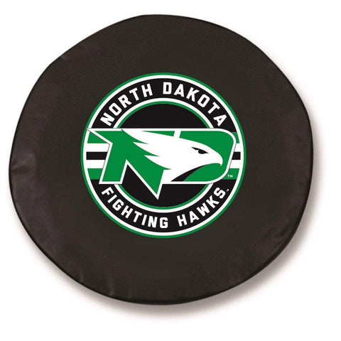 North Dakota Fighting Hawks HBS Black Fitted Car Tire Cover - Sporting Up