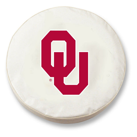 Oklahoma Sooners HBS White Vinyl Fitted Spare Car Tire Cover - Sporting Up