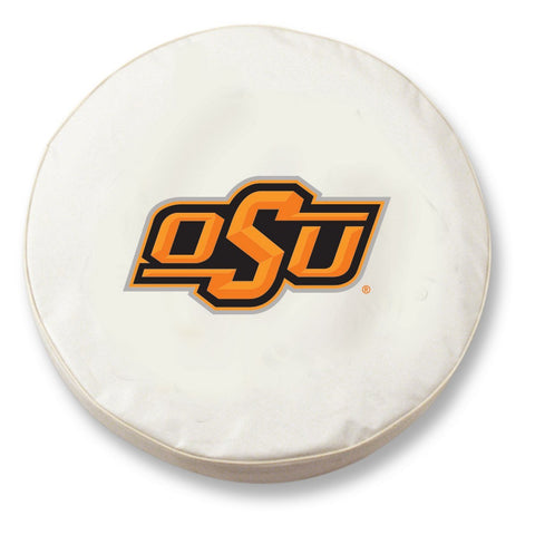Oklahoma State Cowboys HBS White Vinyl Fitted Car Tire Cover