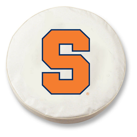Syracuse Orange HBS White Vinyl Fitted Spare Car Tire Cover