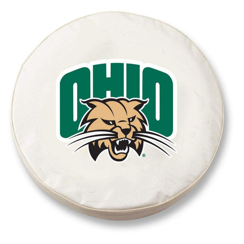 Ohio Bobcats HBS White Vinyl Fitted Spare Car Tire Cover