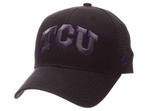 TCU Horned Frogs Zephyr Black Mesh Blackout Trucker Adjustable Snapback Hat Cap