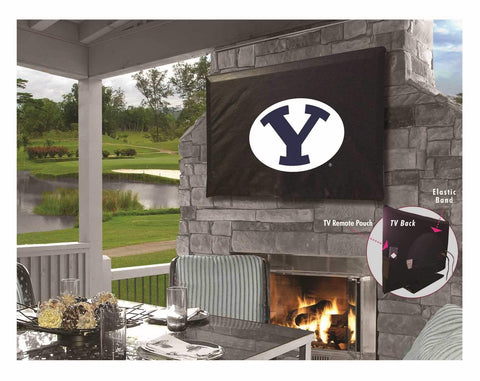 BYU Cougars HBS Black Breathable Water Resistant Vinyl TV Cover