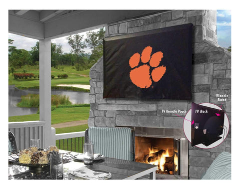 Shop Clemson Tigers HBS Black Breathable Water Resistant Vinyl TV Cover