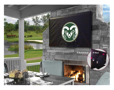 Colorado State Rams Black Breathable Water Resistant Vinyl TV Cover