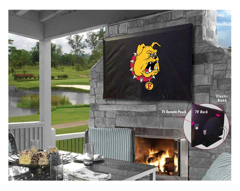 Ferris State Bulldogs Black Breathable Water Resistant Vinyl TV Cover