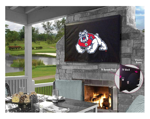 Fresno State Bulldogs Black Breathable Water Resistant Vinyl TV Cover