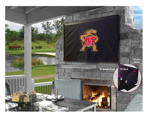 Maryland Terrapins HBS Black Breathable Water Resistant Vinyl TV Cover