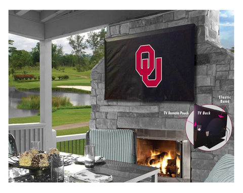 Oklahoma Sooners HBS Black Breathable Water Resistant Vinyl TV Cover - Sporting Up