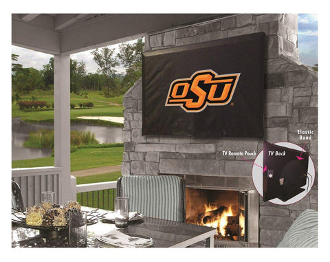 Oklahoma State Cowboys Black Breathable Water Resistant Vinyl TV Cover