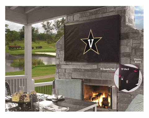 Vanderbilt Commodores Black Breathable Water Resistant Vinyl TV Cover